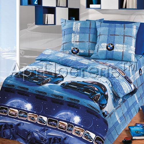 """цена на Постельное белье """"Драйв"""" синий (бязь) (1,5 спальный)"""