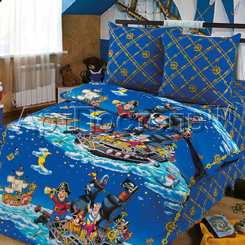 """Постельное белье """"Пираты"""" (бязь) 1,5 спальный"""