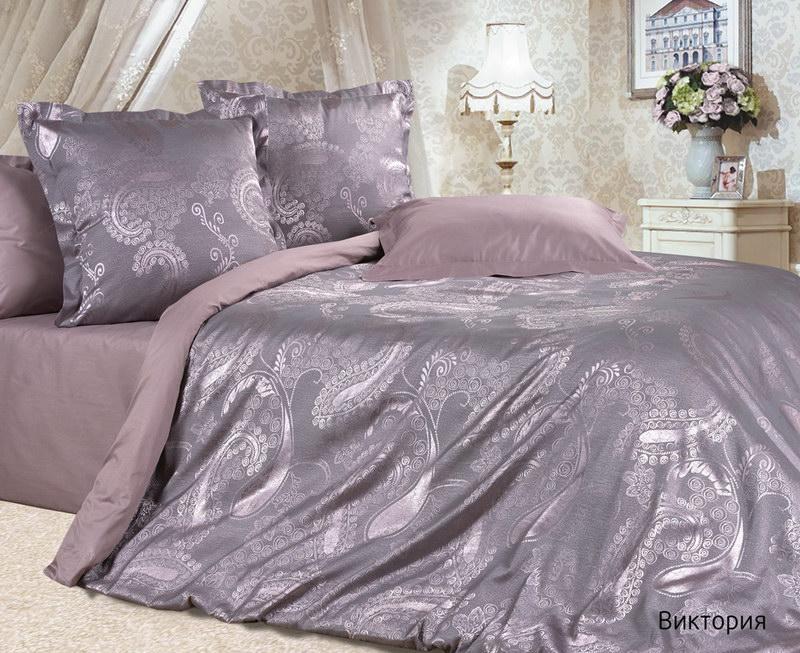 Постельное белье Виктория (сатин-жаккард) (2 спальный с Евро простынёй)