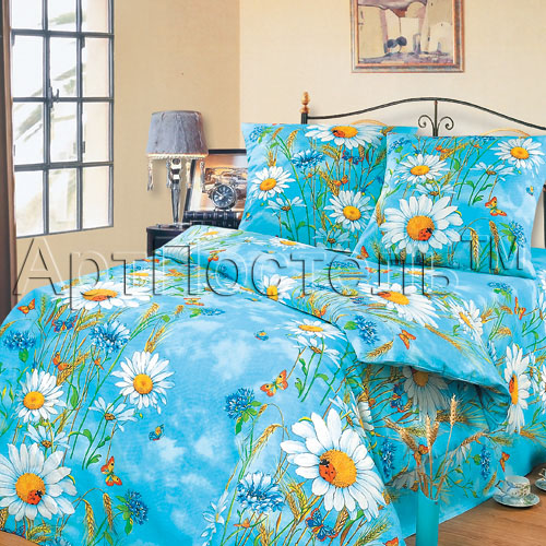 Постельное белье Русское поле голубой (бязь) (1,5 спальный) постельное белье лазурит голубой бязь 1 5 спальный