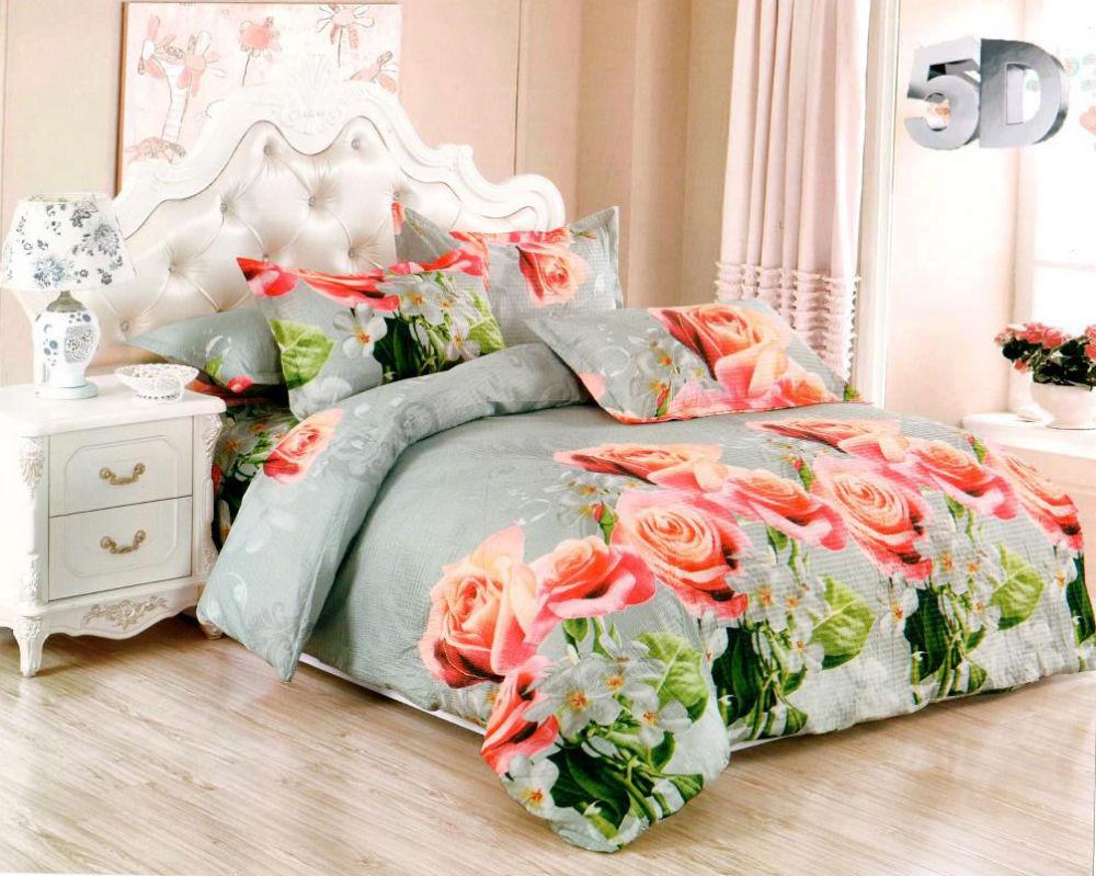 Постельное белье Розы 5D (жатка) (1,5 спальный)