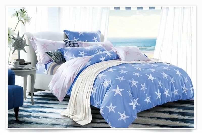 Постельное белье Морские звезды (сатин) (1,5 спальный) постельное белье игрушки розовый сатин 1 5 спальный