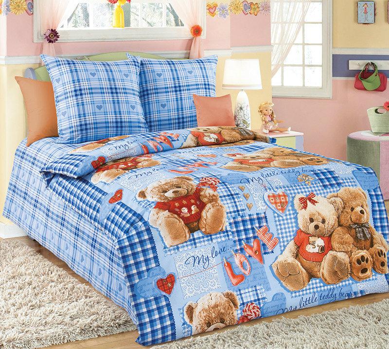 """Постельное белье """"Плюшевые мишки"""" синий (бязь) (1,5 спальный) стоимость"""