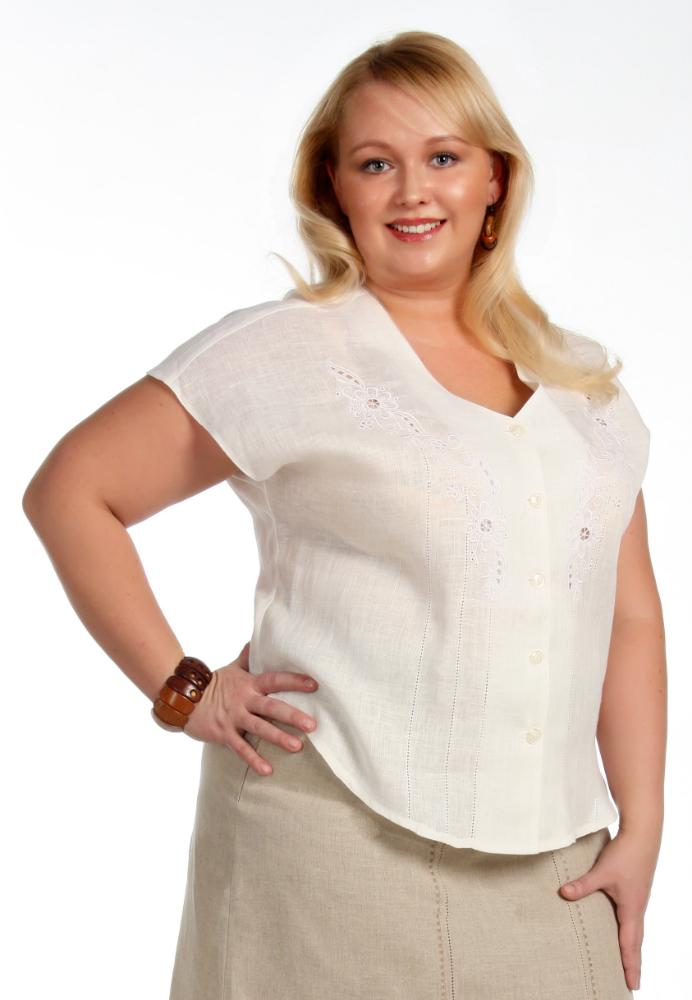 """Блузка льняная с вышивкой модель """"Белла"""" (большемерка) от Грандсток"""