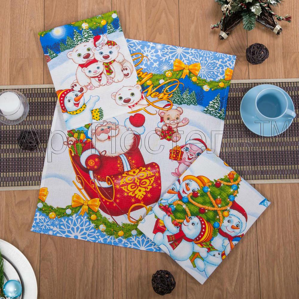 Набор из 3 кухонных полотенец Зимняя сказка (45х60)