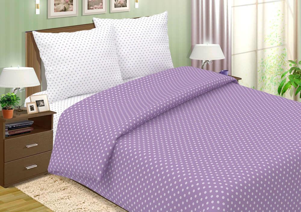 """Постельное белье """"Горошек фиолетовый"""" (поплин) 1,5 спальный"""