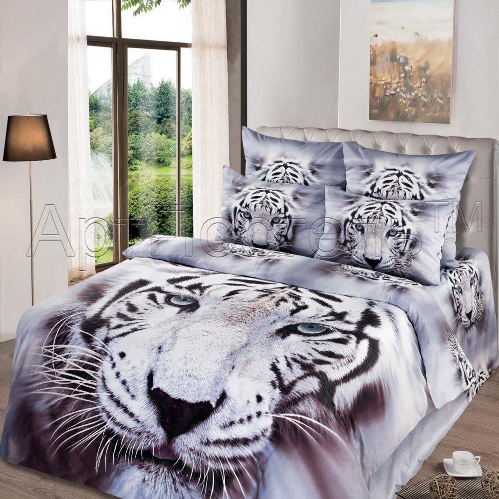 """Постельное белье """"Белый король 3D"""" (сатин) 2 спальный с Евро простынёй"""