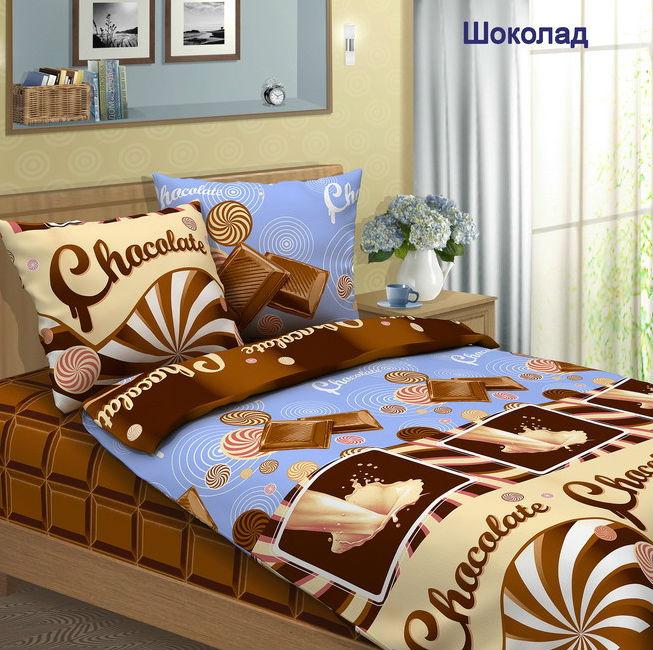 """Постельное белье """"Шоколад"""" (бязь) 2 спальный с Евро простынёй"""
