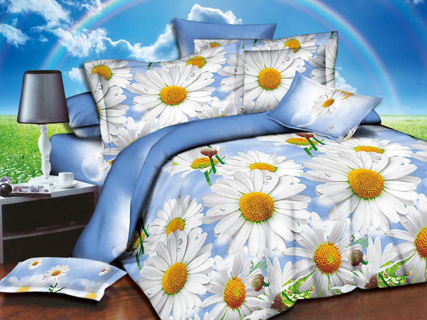 Постельное белье Ромашковое поле 3D (полисатин) (1,5 спальный) постельное белье король лев 3d полисатин