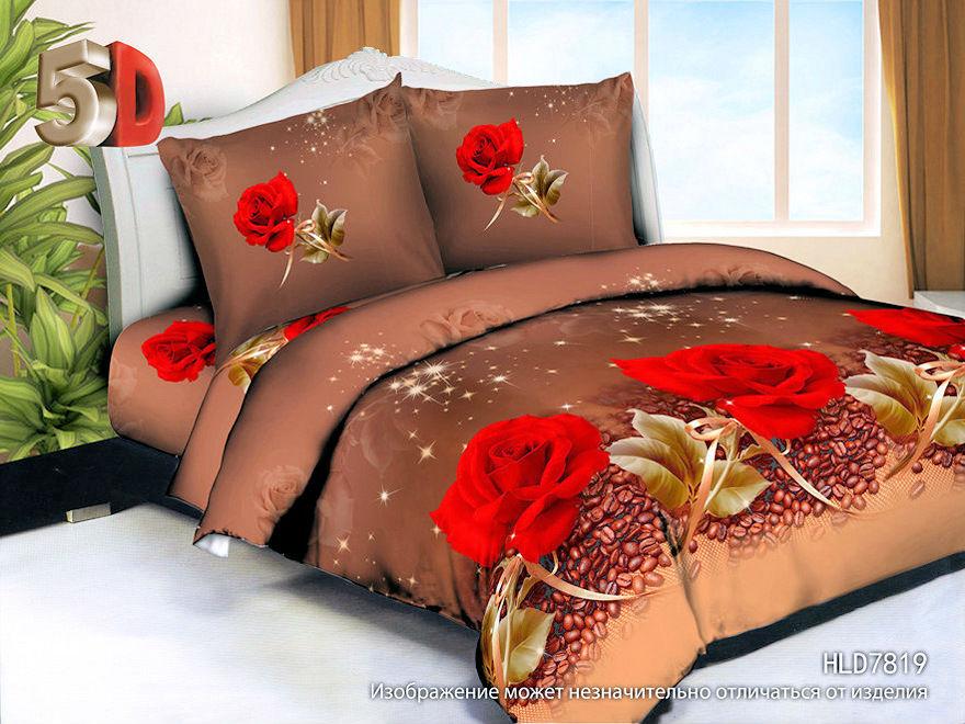 """Постельное белье """"Грация"""" 5D (полисатин) 2 спальный с Евро простыней (простыня на резинке)"""