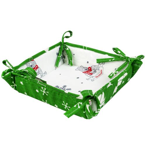 Текстильная ваза Новый год зеленый (18х18) текстильная ваза рукодельница 20х20