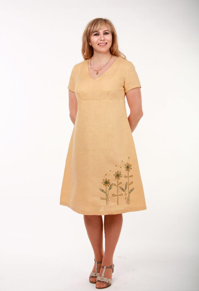 Льняное платье с вышивкой Одуванчики