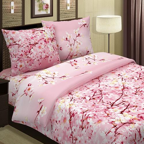 Постельное белье Сакура (розовый) (поплин) (1,5 спальный) комплект сакура розовый размер 1 5 спальный