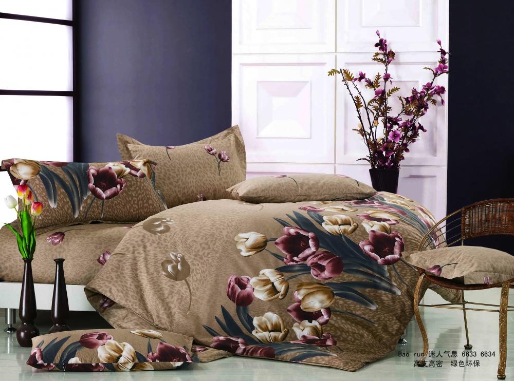 """Постельное белье """"Тюльпаны"""" (сатин) 2 спальный с Евро простынёй"""