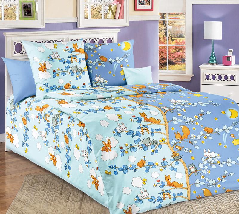 """Постельное белье """"День и ночь"""" голубой (бязь) 1,5 спальный"""