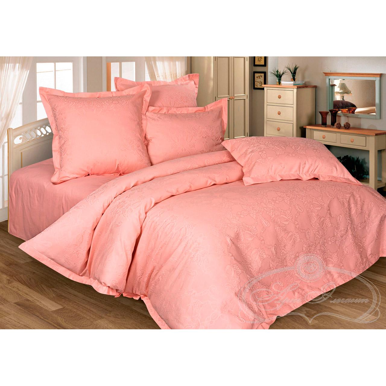 """все цены на Постельное белье """"Миледи персиковый"""" (сатин-жаккард) (2 спальный с Евро простынёй) онлайн"""
