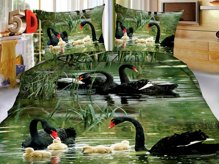 Постельное белье Лебеди черные 5D (полисатин) (1,5 спальный) постельное белье эго комплект 1 5 спальный полисатин