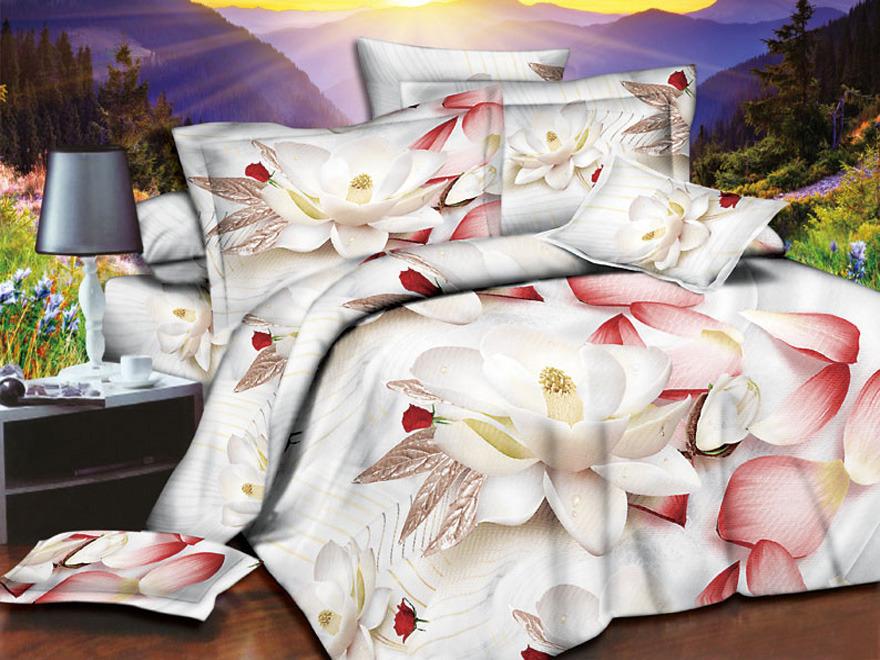 Постельное белье Лотосы 3D (полисатин) (1,5 спальный) постельное белье эго комплект 1 5 спальный полисатин