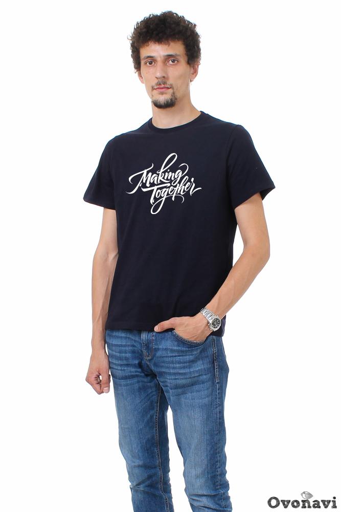 Футболка мужская Однотонная (принт: надпись) футболка мужская однотонная