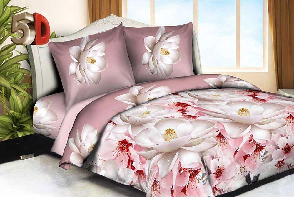 Постельное белье Цветок лотоса 5D (жатка) (1,5 спальный)