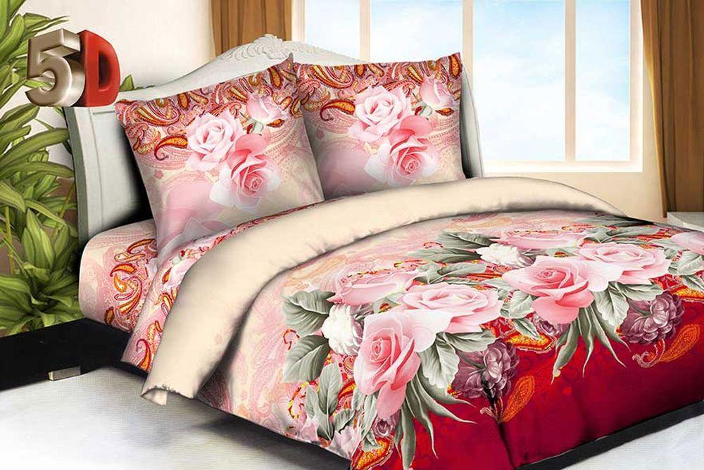 Постельное белье Розовая роза 5D (жатка) (1,5 спальный)