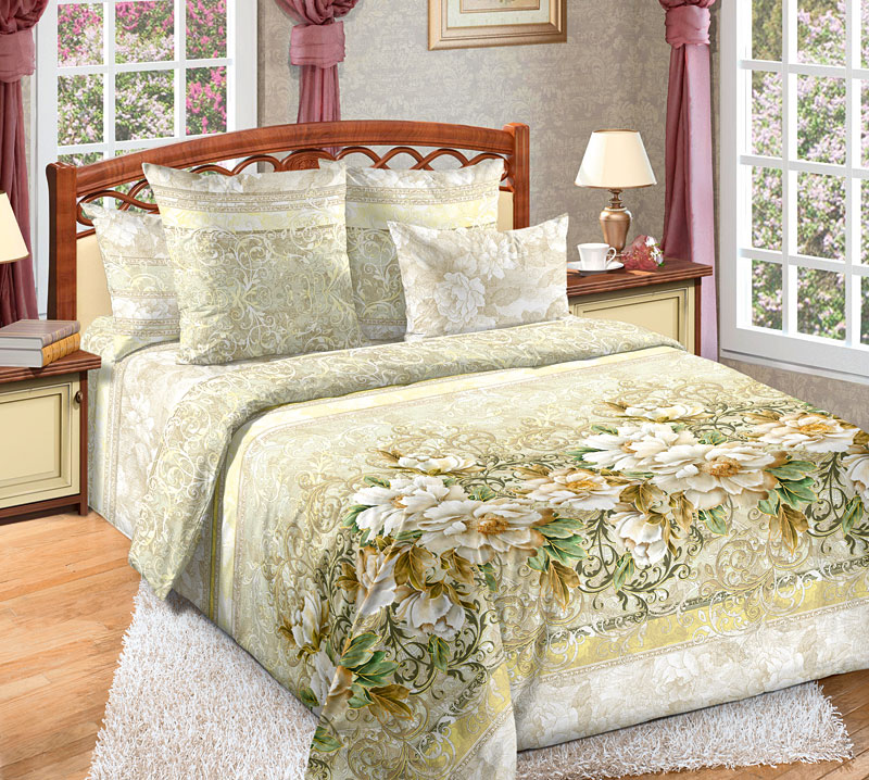 Постельное белье Анжелика (перкаль) (2 спальный с Евро простынёй) постельное белье альба перкаль 2 спальный