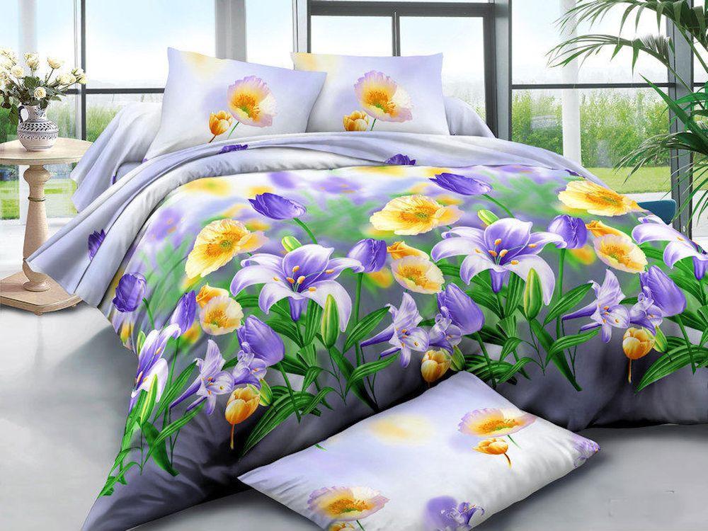 Постельное белье Весенние цветы 3D (полисатин) (1,5 спальный) постельное белье король лев 3d полисатин