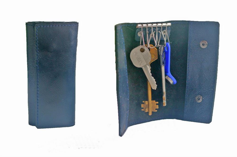 """Ключница кожаная """"Альмерия"""" 6 ключей (синяя) от Грандсток"""