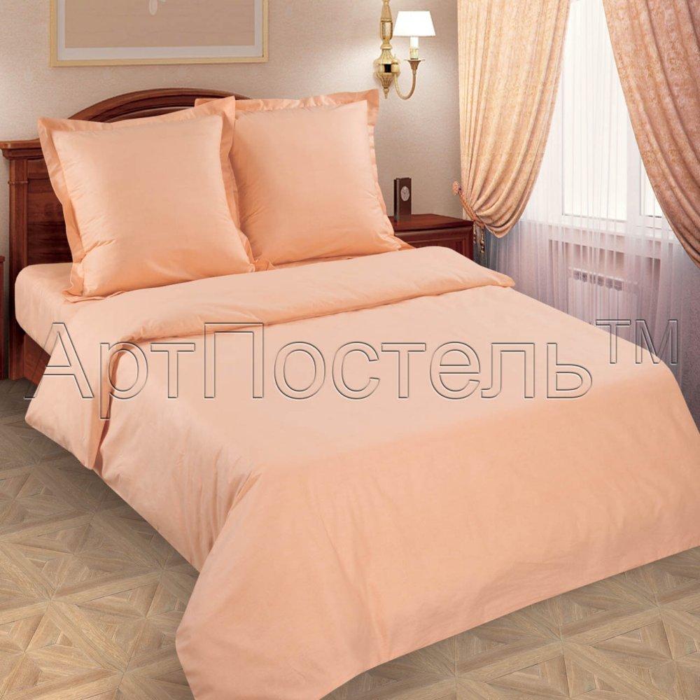 """Постельное белье """"Персик"""" (поплин) 2 спальный с Евро простынёй"""