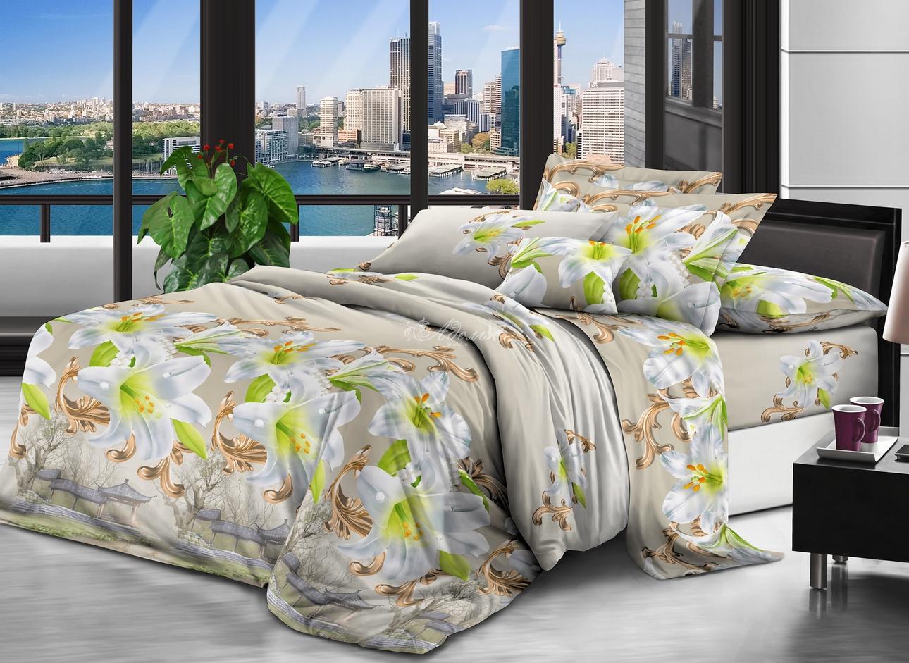 Постельное белье iv61604 (полисатин) (1,5 спальный) постельное белье сирень лучшие друзья комплект 1 5 спальный полисатин кпбм 08675
