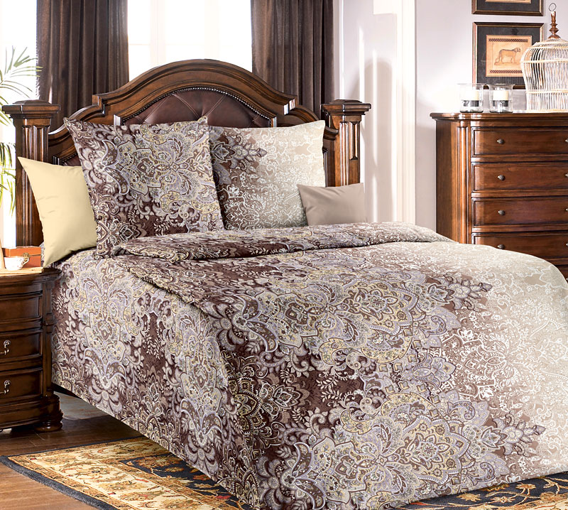 """Постельное белье """"Пачули"""" коричневый (бязь) 1,5 спальный"""