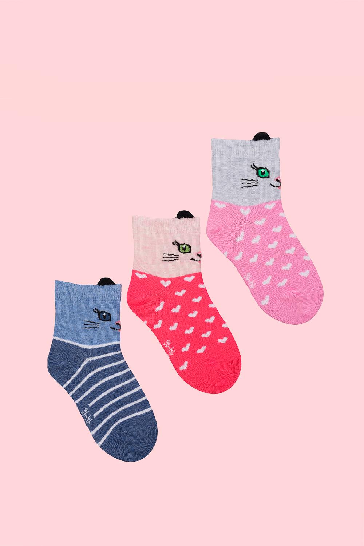 белье acoola носки детские 3 пары цвет ассорти размер 14 16 32224420039 Носки детские Котенок (упаковка 3 пары) (14-16)