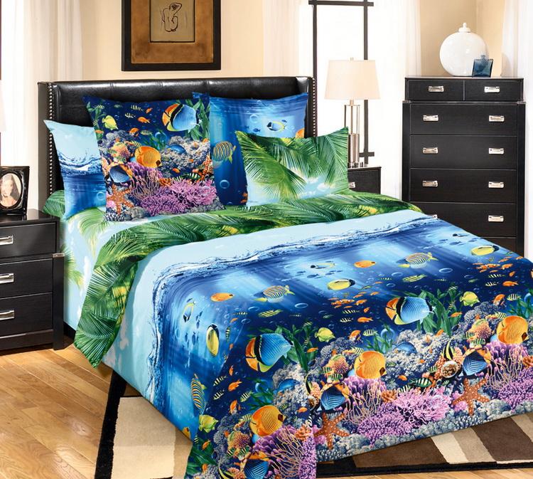 """Постельное белье """"Подводный мир"""" (перкаль) 2 спальный"""
