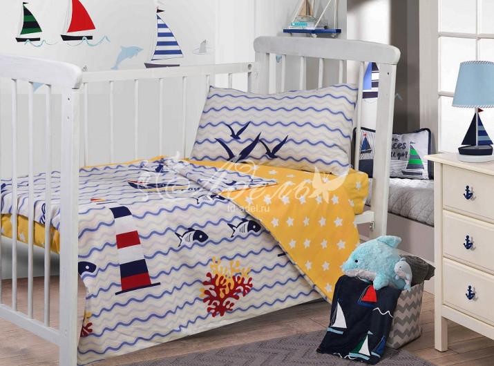 Фото - Постельное белье Море (поплин) (Ясельный) постельное белье этель кружева комплект 2 спальный поплин 2670978