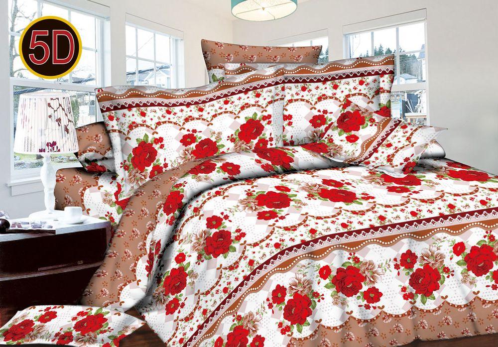 Постельное белье Алые розы 5D (полисатин) (1,5 спальный) постельное белье эго комплект 1 5 спальный полисатин