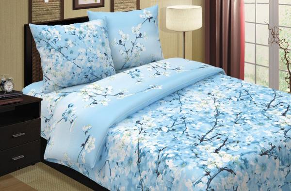 """цена Постельное белье """"Сакура голубая"""" (поплин) (1,5 спальный) онлайн в 2017 году"""
