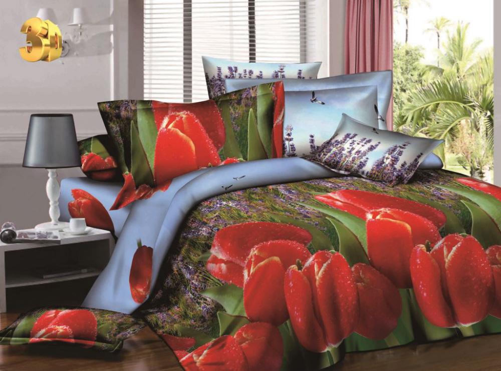 Постельное белье Красные тюльпаны 3D (сатин) (1,5 спальный) постельное белье diva afrodita premium 3d pr 279 двуспальное