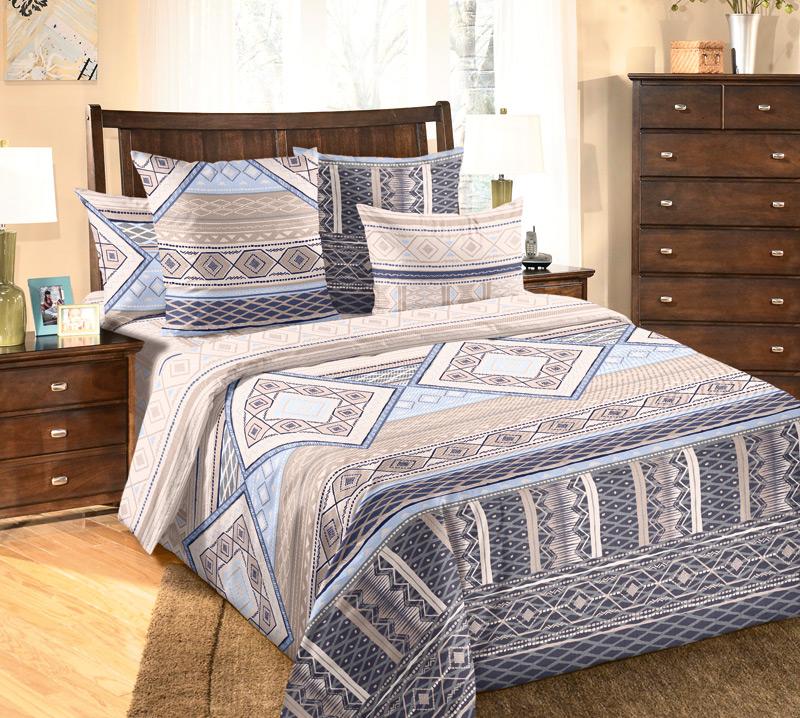 """Постельное белье """"Финляндия"""" голубой (бязь) 2 спальный с Евро простынёй"""