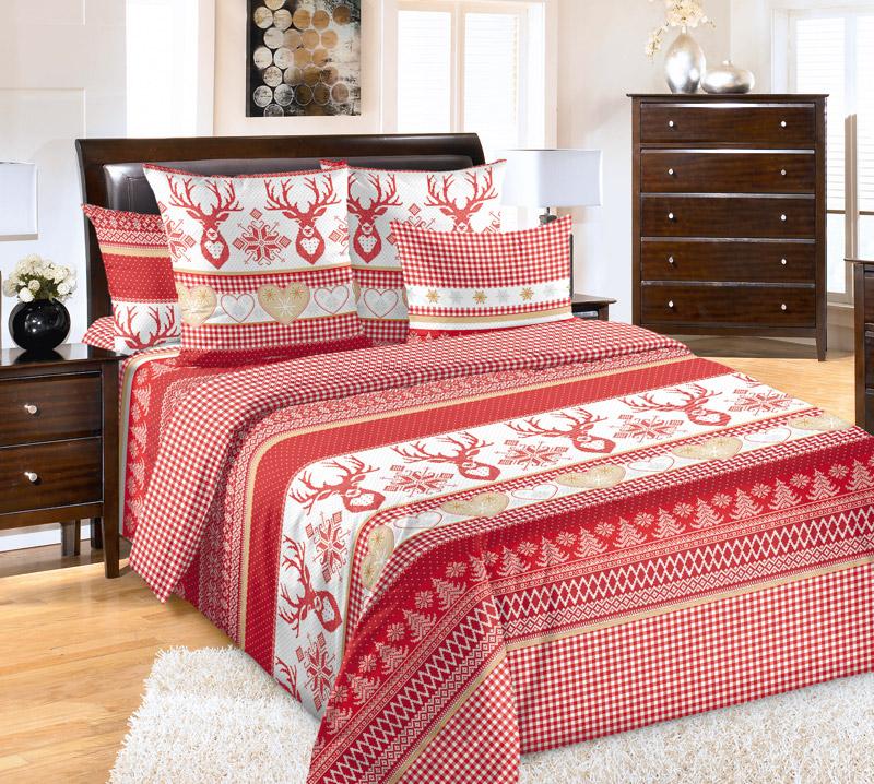 Постельное белье iv51003 красное (перкаль) (1,5 спальный)