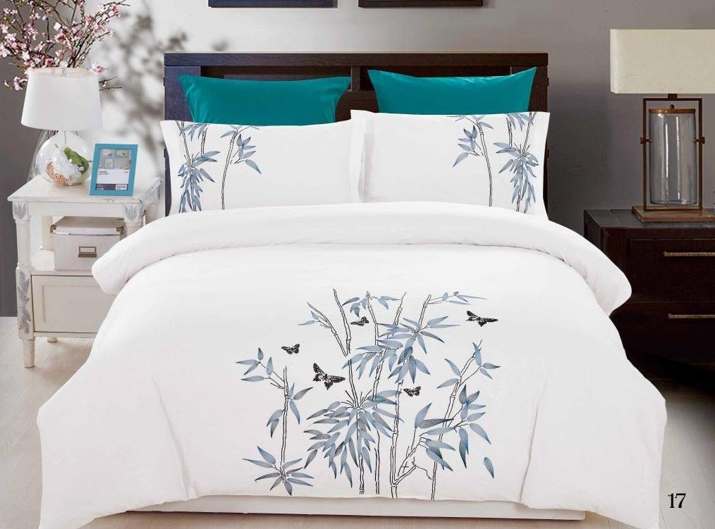 Постельное белье Лукилл с вышивкой (сатин) (2 спальный с Евро простынёй) постельное белье cleo кпб сатин набивной люкс дизайн 365 2 спальный
