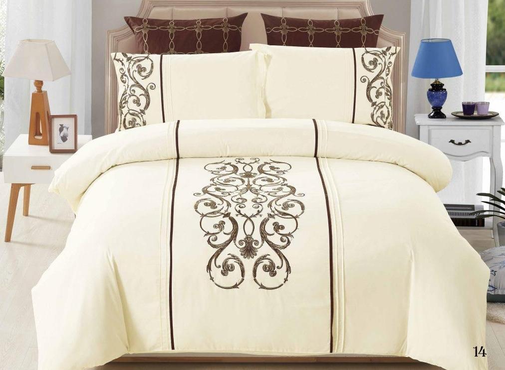 Постельное белье Флавия с вышивкой (сатин) (2 спальный с Евро простынёй)