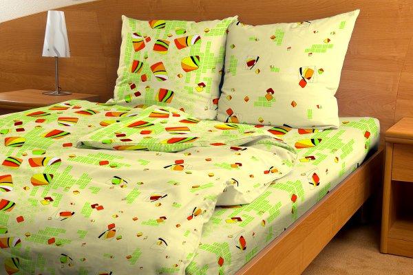 """Постельное белье """"Аккордеон зеленый GS"""" (бязь) (1,5 спальный)"""