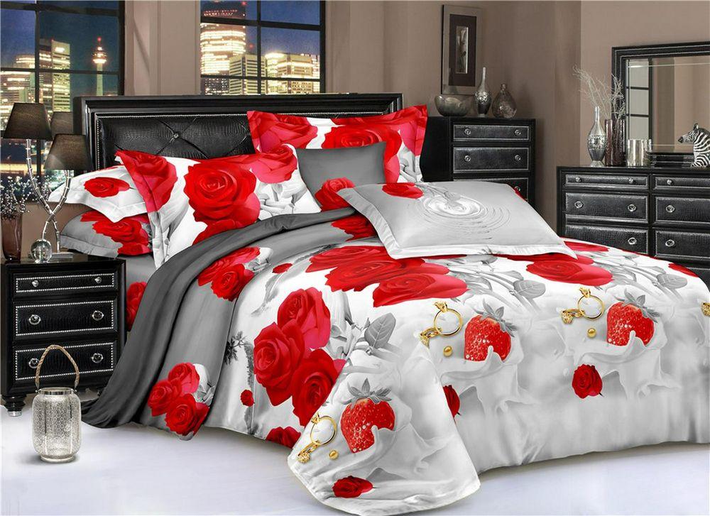 Постельное белье Розы и клубника 5D (полисатин) (1,5 спальный) постельное белье эго комплект 1 5 спальный полисатин