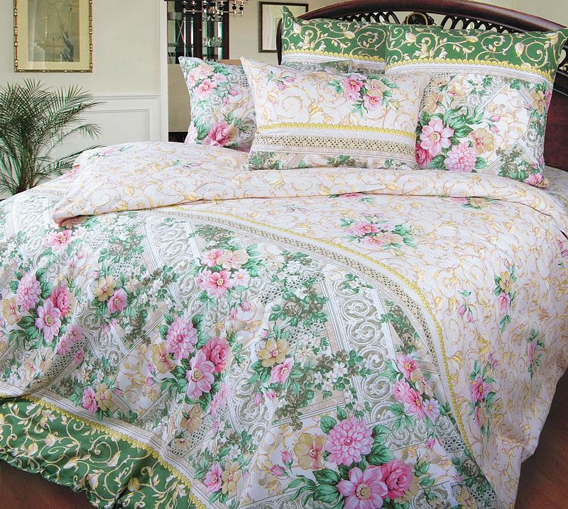 """Постельное белье """"Римский дворик"""" зеленый (перкаль) 2 спальный с Евро простыней (простыня на резинке)"""