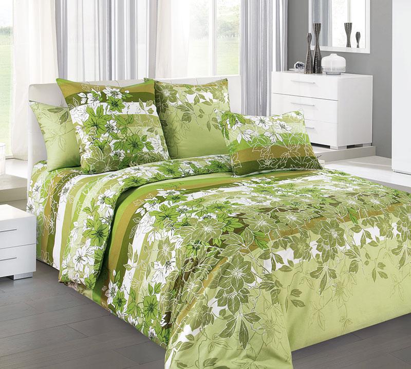 """Постельное белье """"Бьюти"""" зеленый (бязь) 2 спальный с Евро простынёй"""