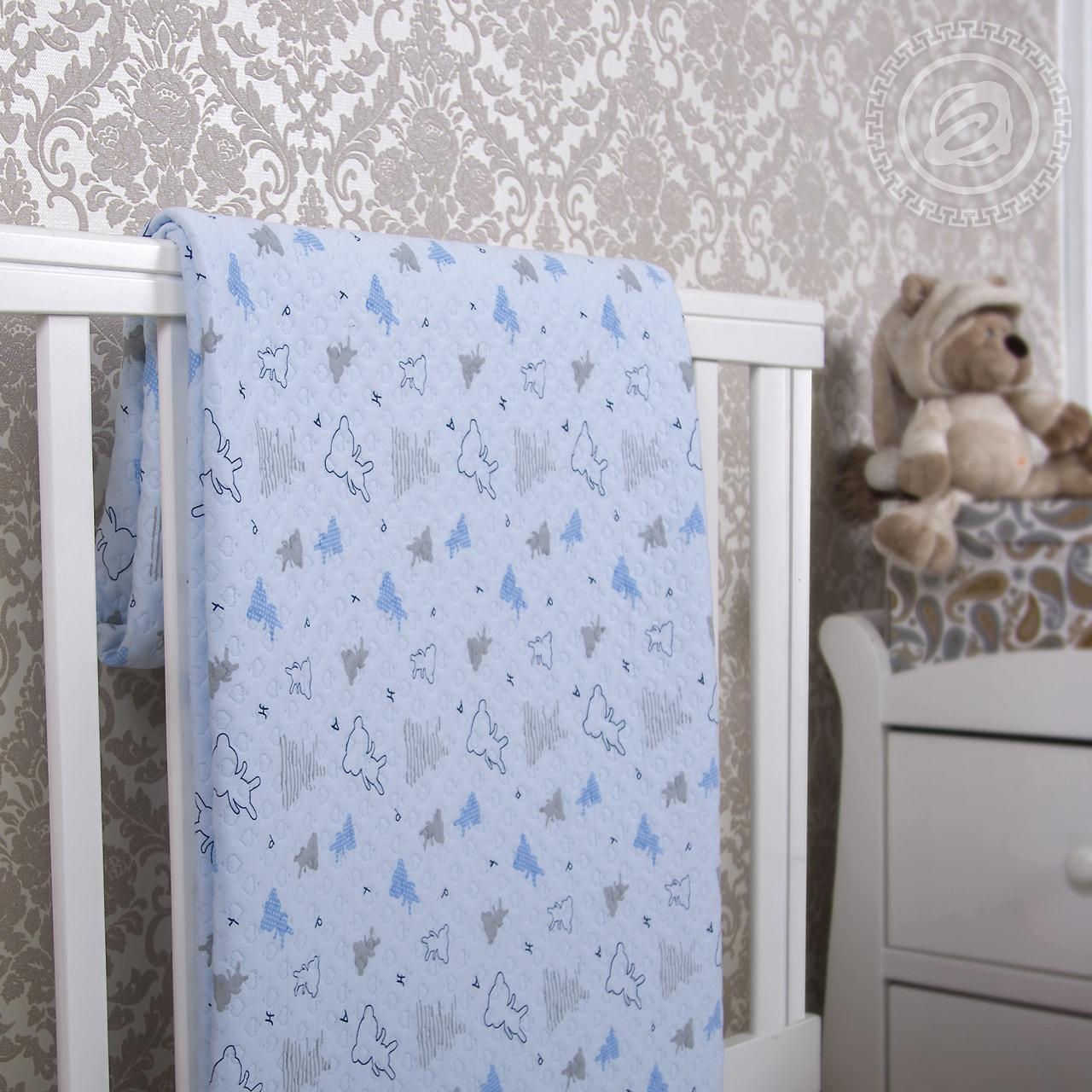 """Покрывало """"Мишки-малышки голубой"""" (трикотаж) 100х140"""