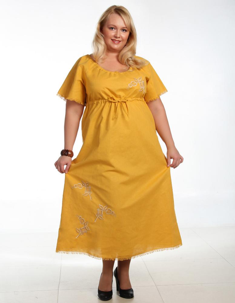 Платье льняное в деревенском стиле Мария (большемерка)