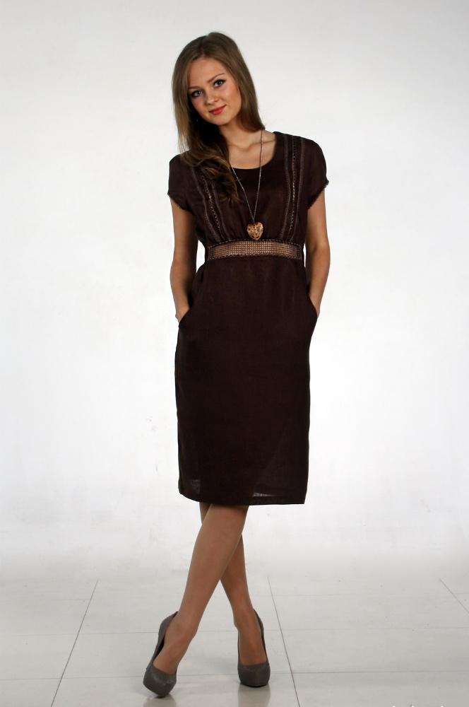 Платье льняное с вышивкой Нарцисса