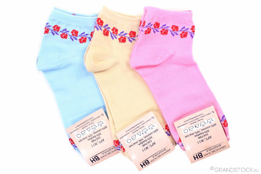 Носки женские Цветы (упаковка 12 пар) (37-41) носки женские лайк упаковка 6 пар 23 25