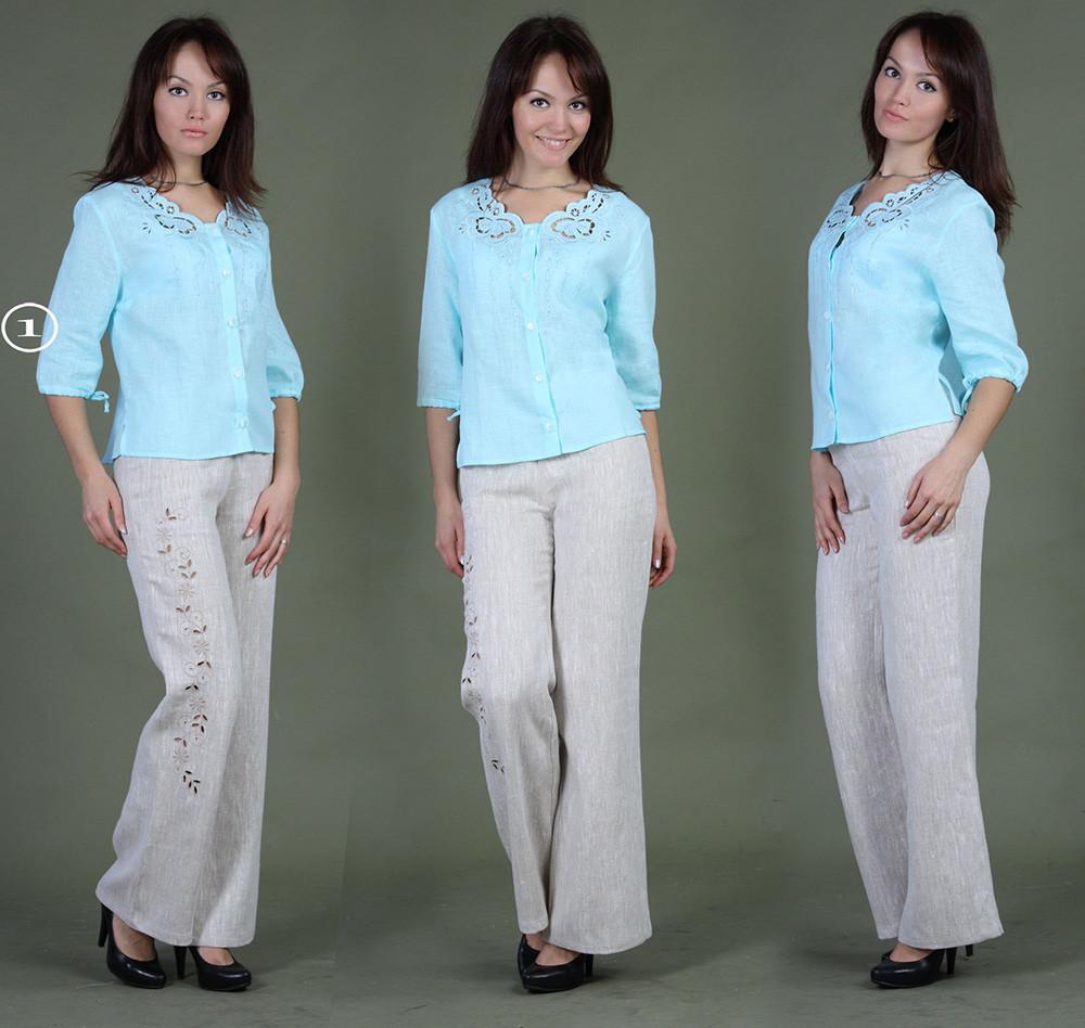 Блузка льняная с вышивкой iv12684 (большемерка)